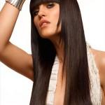 coiffure femme cheveux long avec frange