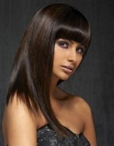 coiffure femme cheveux long frange