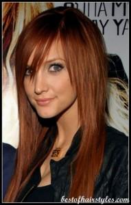 coiffure mi long couleur roux