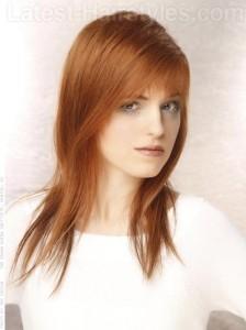 coupe cheveux roux longs 2014 visage rond