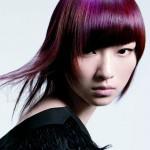 coloration cheveux violet avec frange