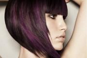 coiffure carré plongeant mèches violettes
